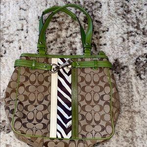 Coach Brown Green Shoulder Bag Zebra Signature
